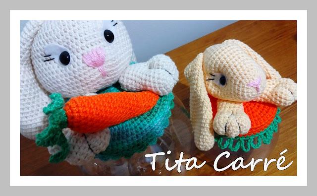 Bomboniere e Baleiro Coelha e filhote em crochet