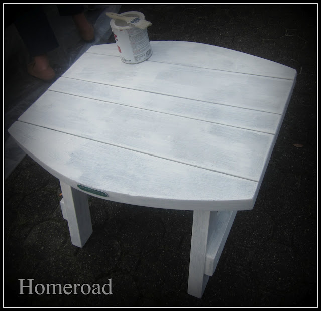 white painted outdoor table