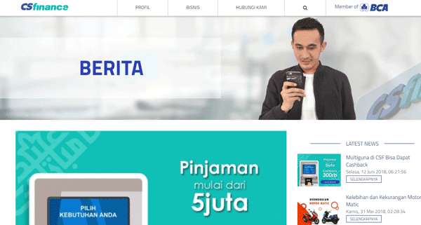 halaman website cs finance bca