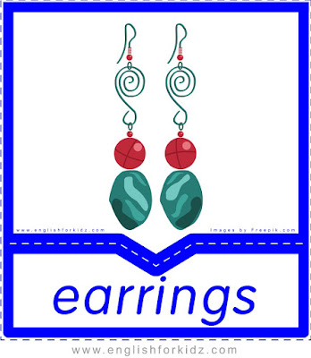 Earrings - clothes and accessories flashcards to learn English