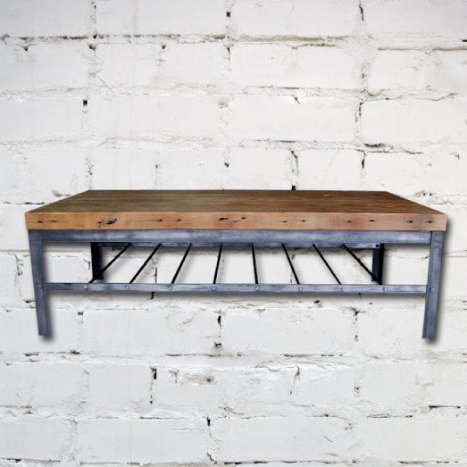 Industrial coffee table with reclaimed wood