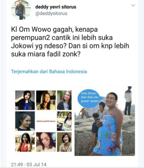 Kader PDI P Sekaligus Komisaris PTPN Unggah Gambar HINAAN ke FADLI ZON