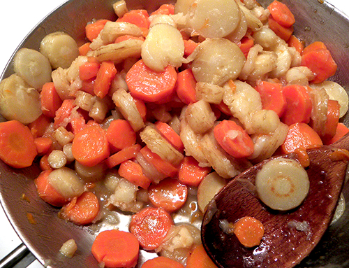 Carrots and Parsnips Glazed in Skillet