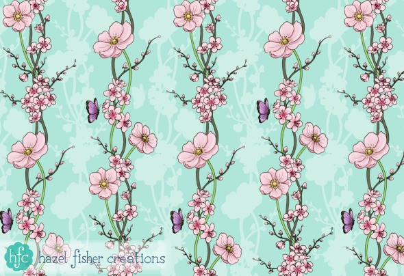 Spoonflower Contest Entry Japanese Garden, surface pattern design by hazelfishercreations