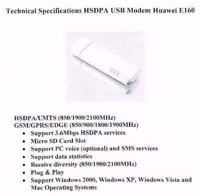 Spesifikasi HSDPA USB Modem HUAWEI E160