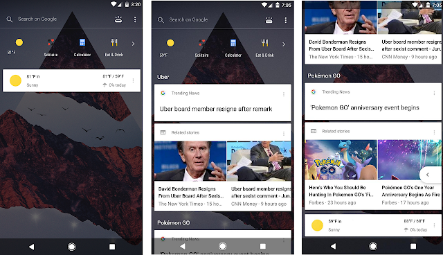 Google is testing a new transparent Google Now panel