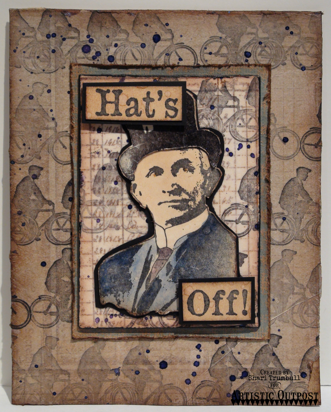 Stamps - Artistic Outpost Hat's Off, Hats Background, Ephemera Backgrounds