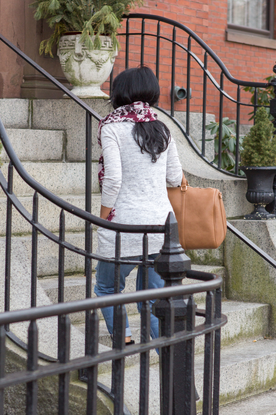 boyfriend jeans, grey cardigan, soft scarf, floral scarf, military booties, lace-up boots, rachel zoe earrings