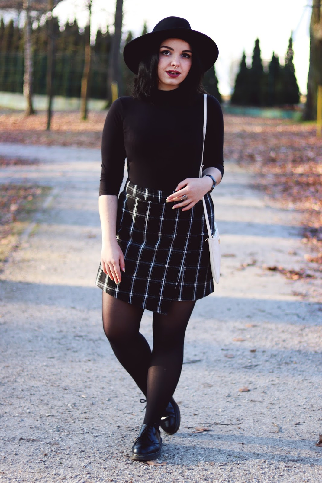 How to Wear Checkered Wrap Skirt