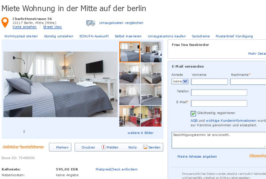 miete wohnung in der mitte auf der berlin charlottenstrasse 56. Black Bedroom Furniture Sets. Home Design Ideas