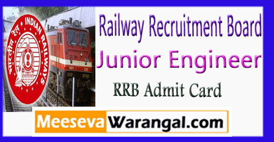 RRB Junior Engineer Admit Card Exam Date 2017