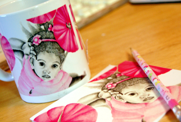 pink girl mug and mouse pad