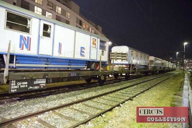 roulottes sur des wagon plats modele Lugano des CFF