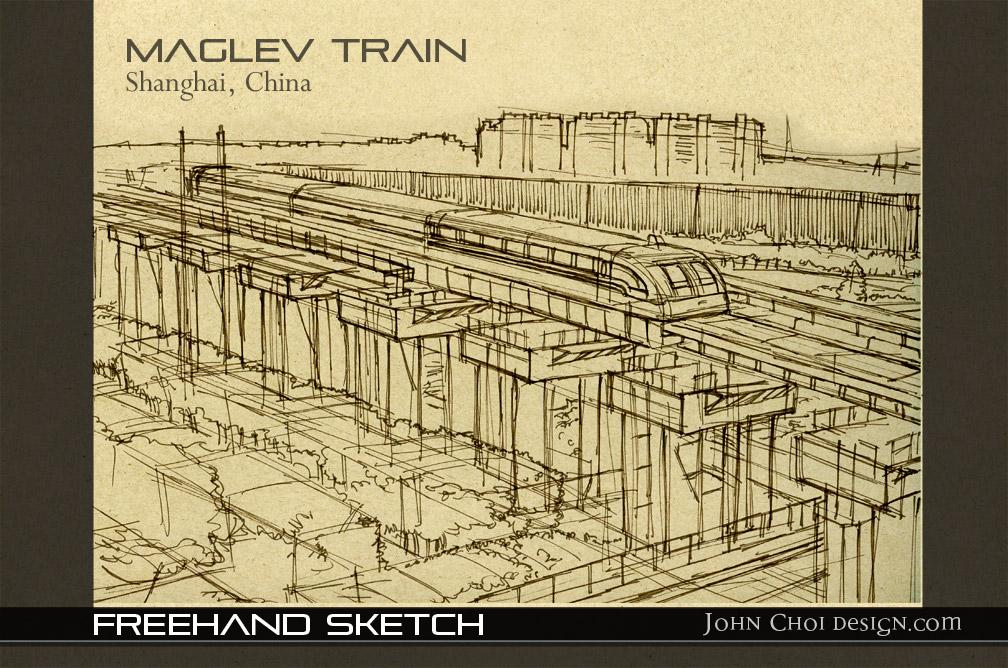 Maglev Train Freehand Sketch   JOHN CHOI Sketchworks