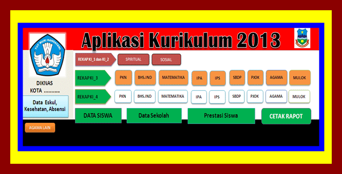 Aplikasi Raport Kurikulum 2013 Kelas 4 SD Revisi 2017
