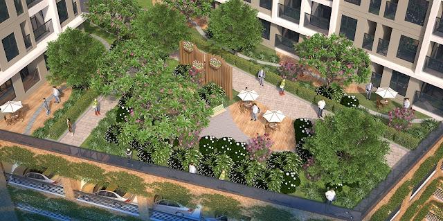 Vườn treo xanh tại The K Park Văn Phú