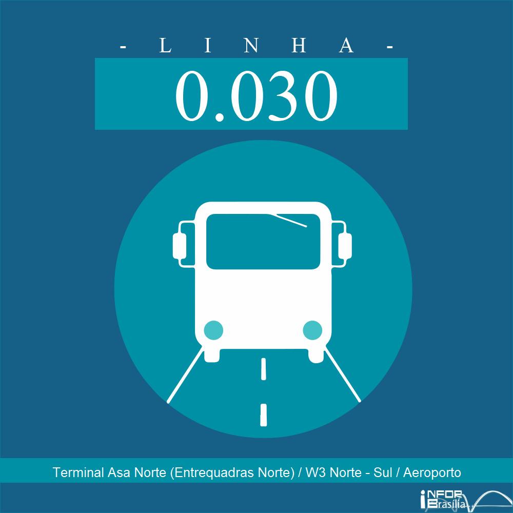 Horário de ônibus e itinerário 0.030 - Terminal Asa Norte (Entrequadras Norte) / W3 Norte - Sul / Aeroporto