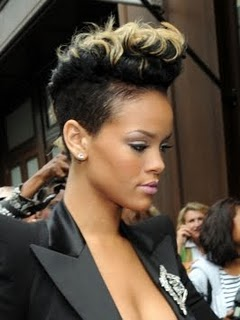 Colored With A Mohawk Hair Style And Shaving Side For Black Woman
