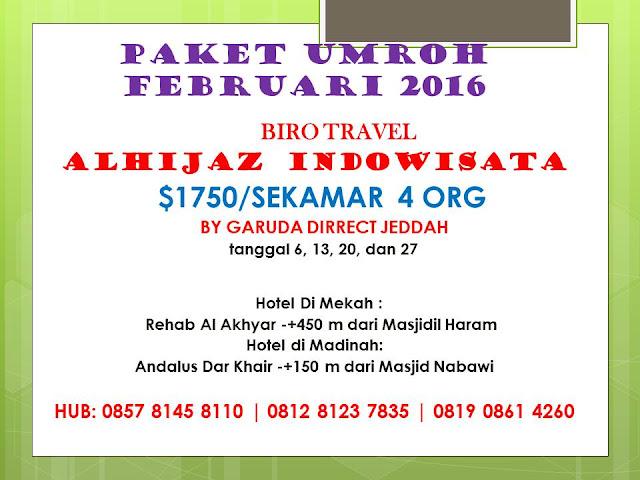 Info biaya termurah paket Umroh Februari 2016 Jakarta Utara