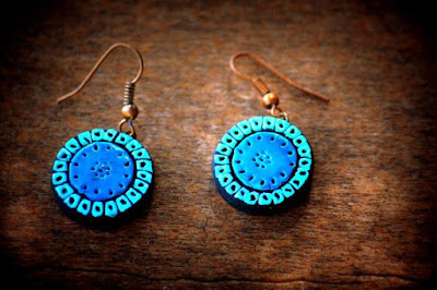Blue color terracotta earring for kids - quillingpaperdesigns