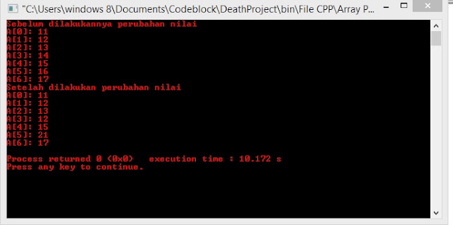 Hasil output program dengan cara mendeklarasikan terlebihdahulu