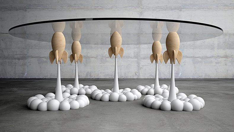 Una mesa de centro de vidrio impulsado por un grupo de cohetes