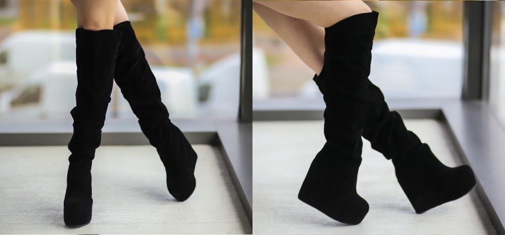Cizme de ocazie inalte cu platforma piele intoarsa negre