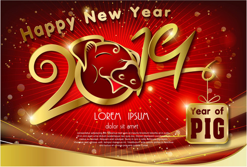Golden text of 2019 pig of year free vector free icon vector
