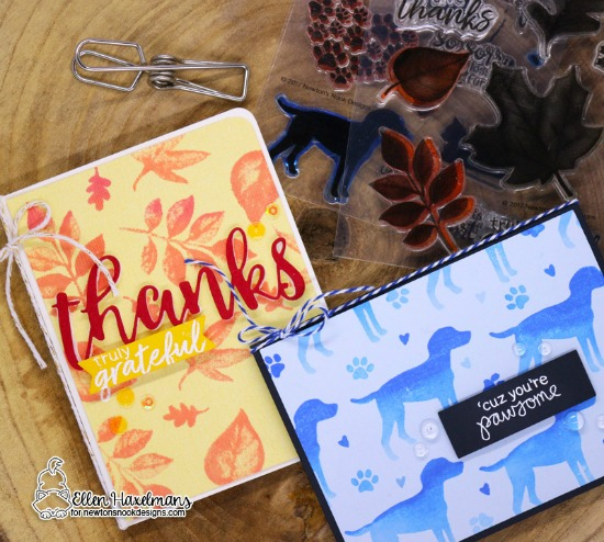 Monochromatic Cards by Ellen Haxelmans | Furr-ever Friends and Shades of Autumn Stamp Sets by Newton's Nook Designs #newtonsnook #handmade