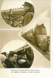 Photo montage of the arrival home of the scientists. It shows a train, hogs on the platform and a Soviet official adressing a crowd.
