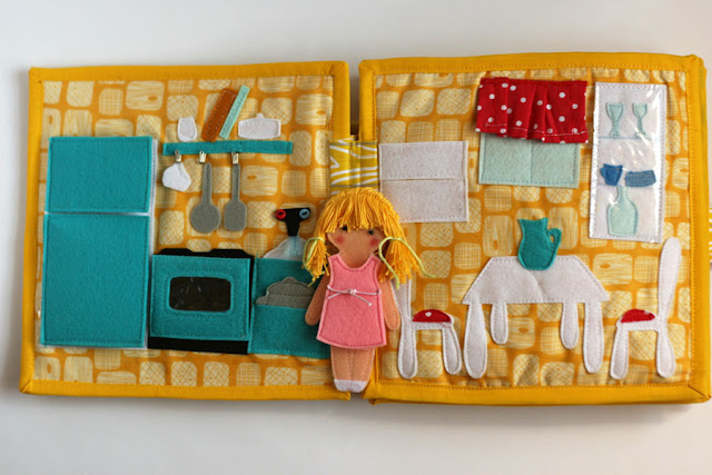 Travel dollhouse busy book with felt paper doll-kitchen and dining room Кукольный домик - Кухня и столовая