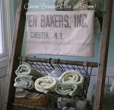 ladder vintage feed sack towel Brick Oven Bakers Port Chester, New York