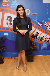 Actress Mannara Chopra Stills in Blue Short Dress at Rogue Song Launch at Radio City 91.1 FM  0086.jpg