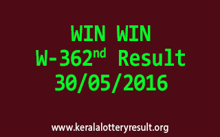 WIN WIN W 362 Lottery Result 30-5-2016