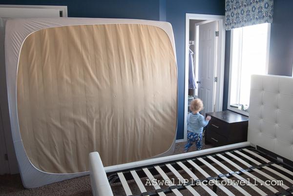 Rearranging the Master Bedroom.  Urban Barn bed frame