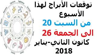 توقعات الأبراج لهذا الأسبوع من السبت 20 الى الجمعة 26 كانون الثاني-يناير 2018