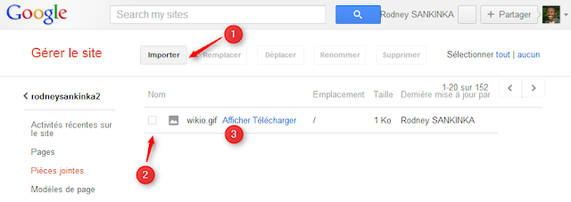 Importer fichiers sur Google sites