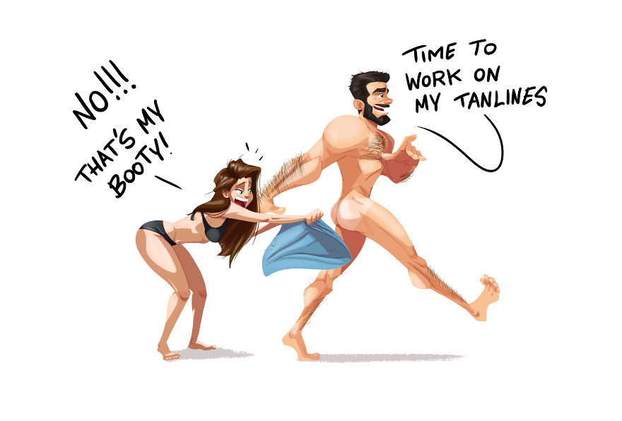 Man Draws Funny Comics Illustrating Everyday Life With His Partner - Let's Go To The Beach!