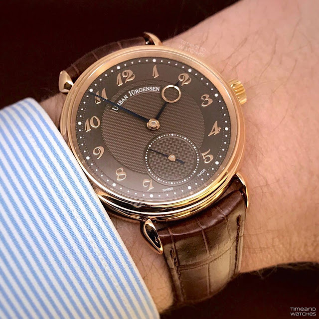Wristshot of the Urban Jurgensen 1140 RG Brown Limited Edition