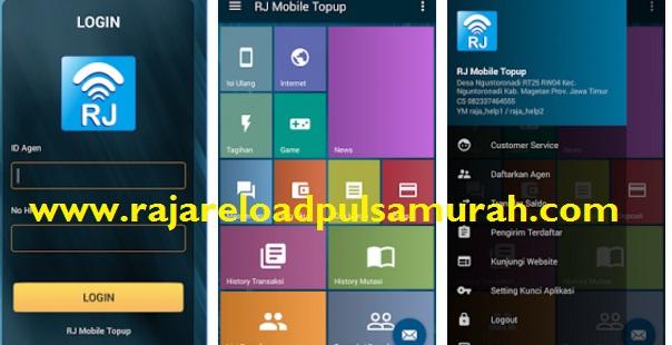Tampilan Aplikasi Android RJ Mobile Topup Raja Pulsa