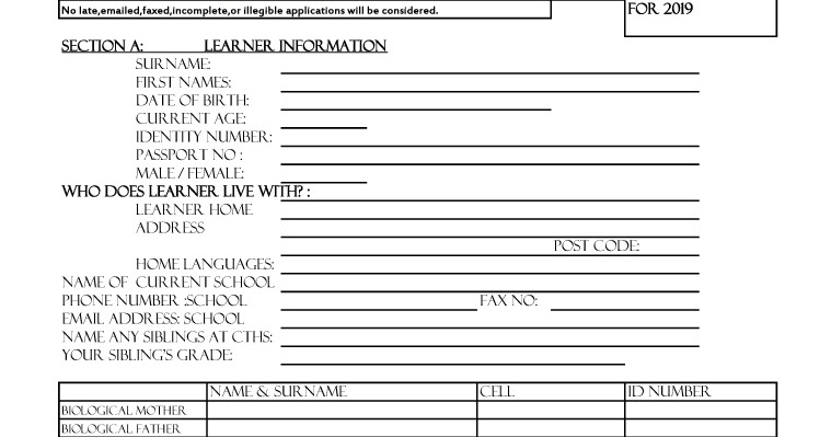 online application forms for 2019
