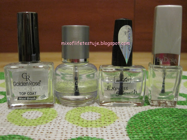 Golden Rose QUICK DRY top coat,Silcare Top Coat ultraviolet,Wibo Express growth fluo top coat,IsaDora 401 Top Coat