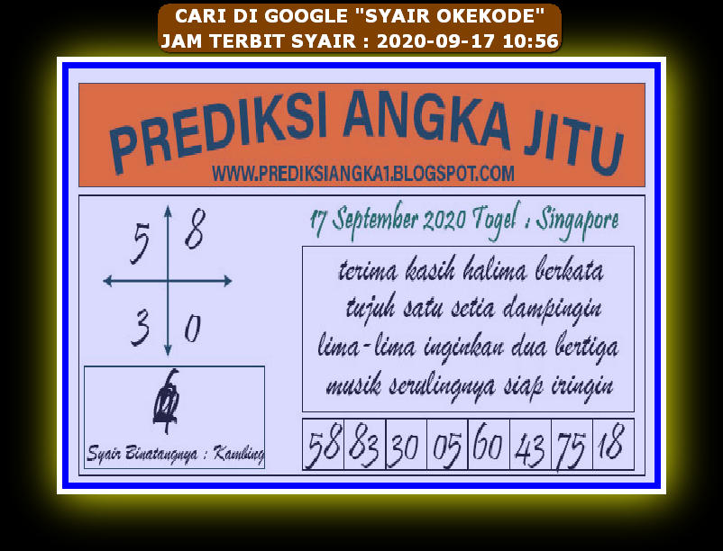Kode syair Singapore Kamis 17 September 2020 89