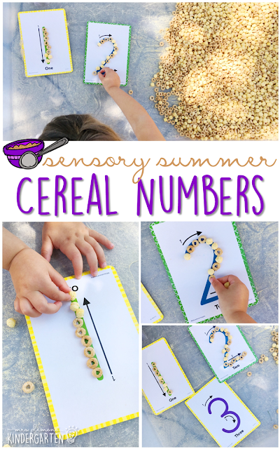 Practice fine motor skills and number recognition with this cereal filled sensory bin! This is a perfect activity for summer tot school, preschool, or kindergarten!