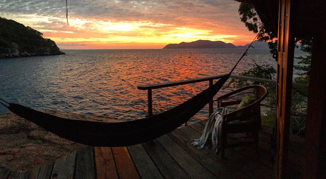 A sunset view from one of the main double rooms on Mumbo Island, Lake Malawi