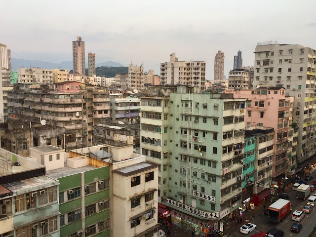 Dense skyscraper buildings in Sham Shui Po, Kowloon, Hong Kong