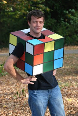 Rubik's cube cardboard costume