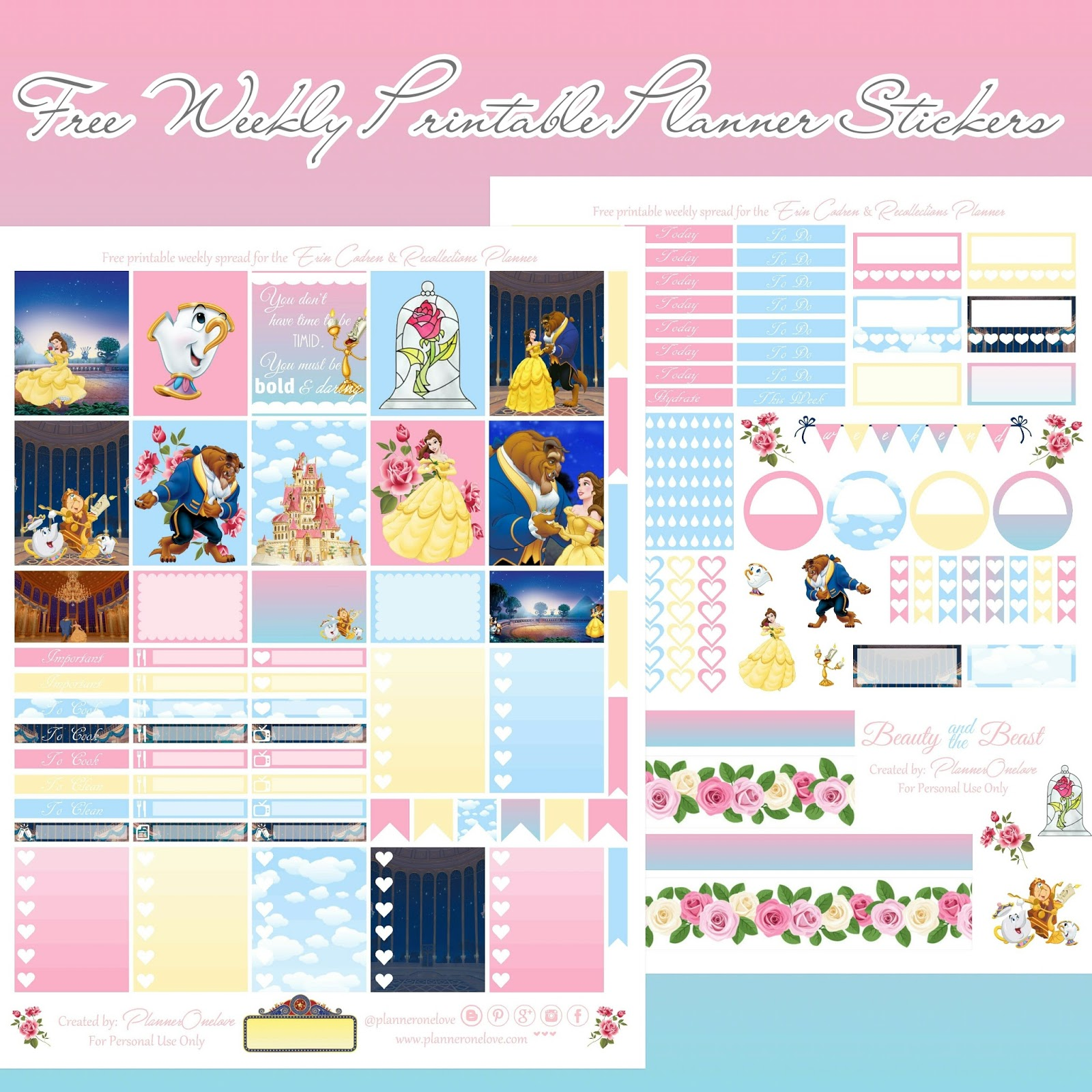 free beauty the beast printable spread for the erin condren recollections planner