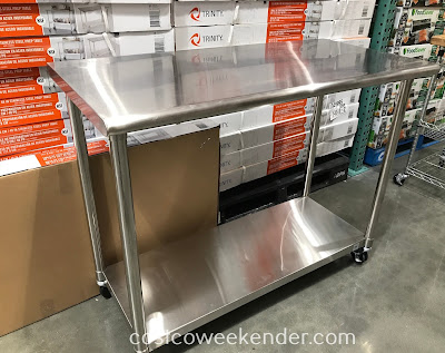 Get more counter space with the Trinity Stainless Steel Prep Table