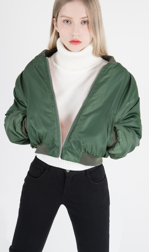Zip-Front Extended Sleeve Bomber Jacket